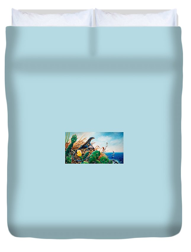 Chris Cox Duvet Cover featuring the painting St. Lucia Whiptail by Christopher Cox