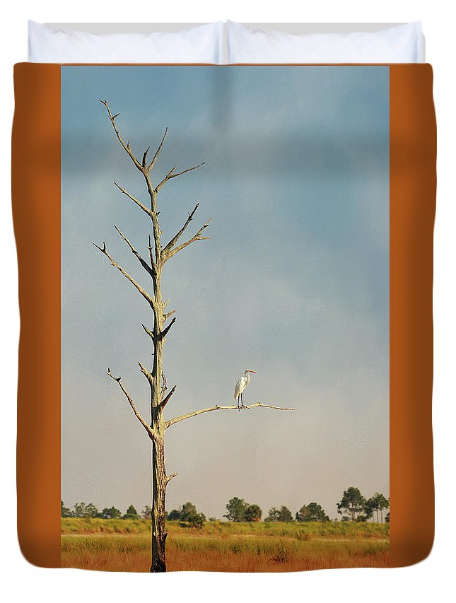 St. Marks National Wildlife Refuge Duvet Cover featuring the photograph St. Marks Sentinel by Carla Parris