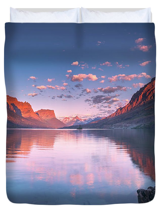 America Duvet Cover featuring the photograph St Mary Lake In Early Morning With Moon by William Freebilly photography