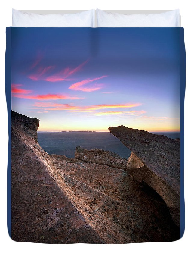 St Mary Peak Sunrise Flinders Ranges South Australia Outback Landscape Duvet Cover featuring the photograph St Mary Peak Sunrise by Bill Robinson