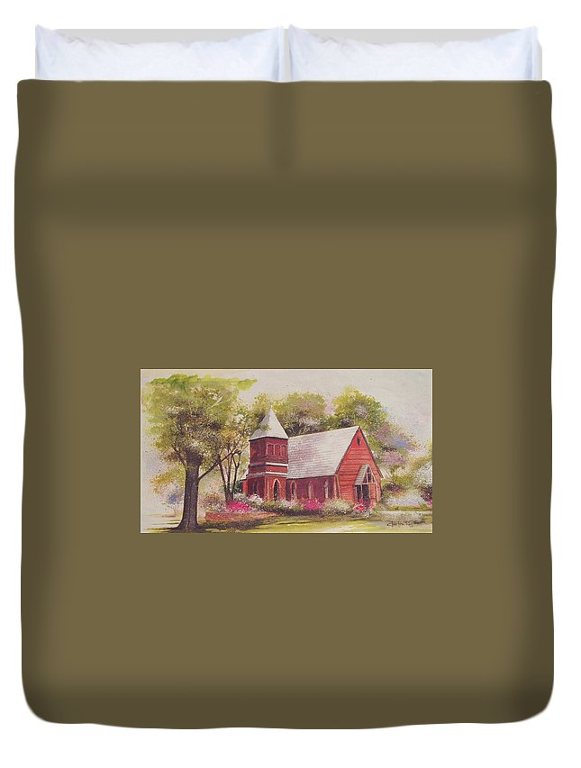 Charles Roy Smith Duvet Cover featuring the painting St. Mary's Chapel by Charles Roy Smith