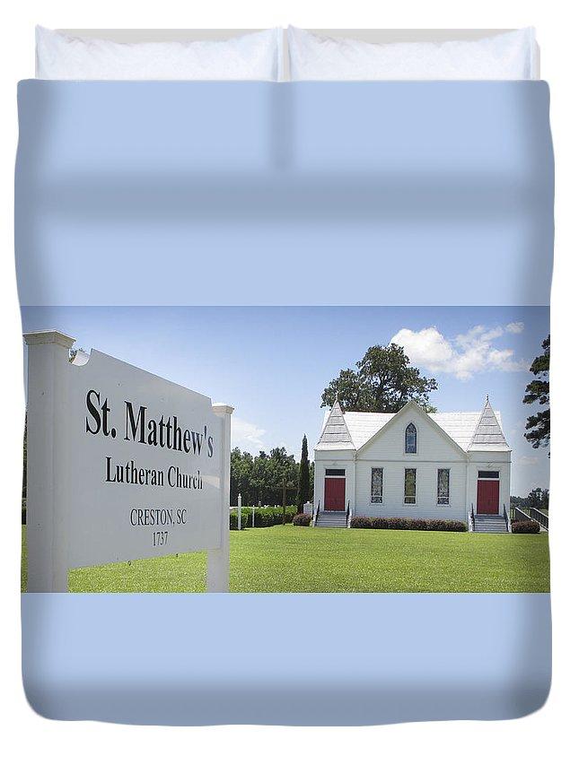 St. Matthews Lutheran Church Duvet Cover featuring the photograph St. Matthews Lutheran Church by Rob Thompson