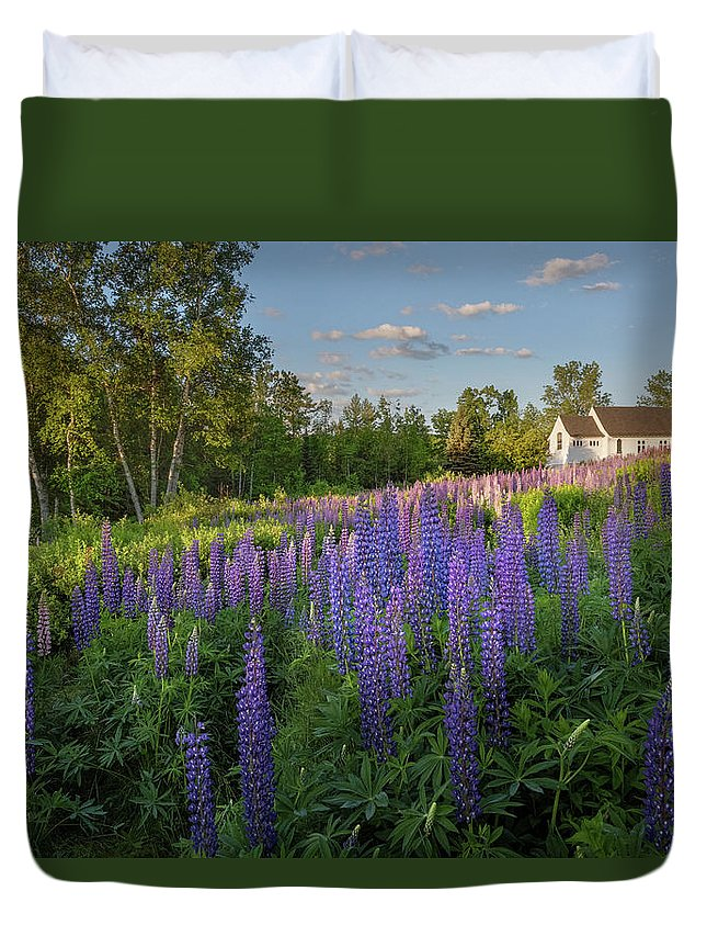 Church Duvet Cover featuring the photograph St Matthews Sunrise by Bill Wakeley