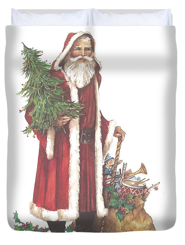 St. Nicholas Duvet Cover featuring the painting St. Nicholas I by Carolyn Shores Wright