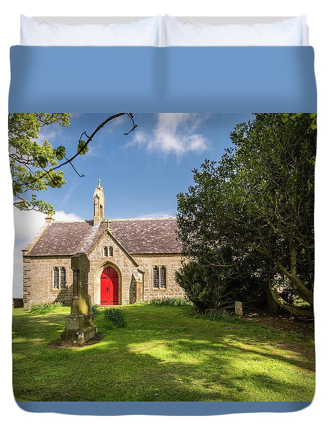 Northumberland Duvet Cover featuring the photograph St Oswald's Church Entrance by David Head