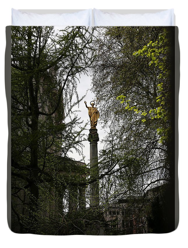 Statue Of St Paul Duvet Cover featuring the photograph St. Pauls Cathedral 2 by Andrew Fare