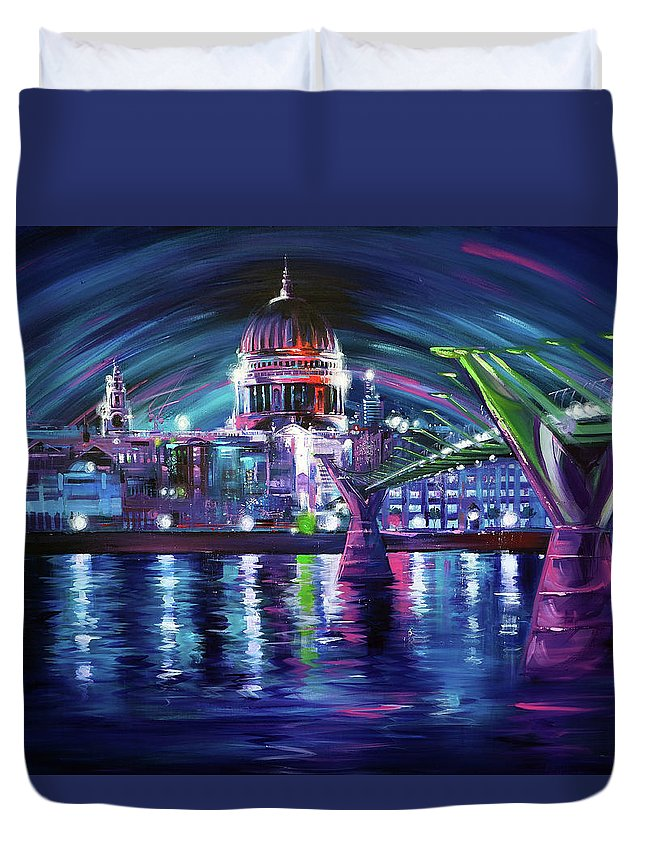 St Pauls Cathedral Duvet Cover featuring the painting St Pauls Cathedral London by Paul Whitehead