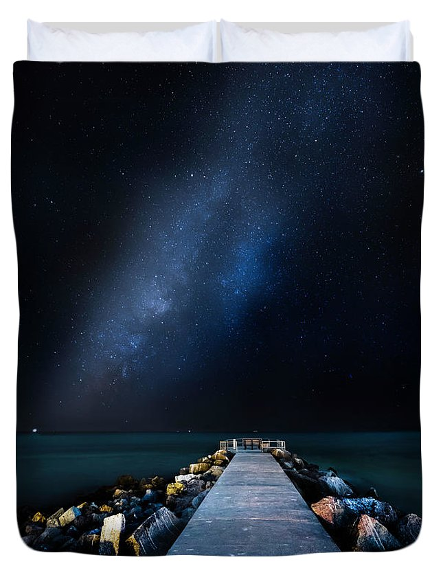 Galaxy Duvet Cover featuring the photograph St. Pete Night by Marvin Spates