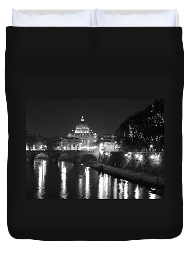 Italy Duvet Cover featuring the photograph St. Peters At Night by Donna Corless