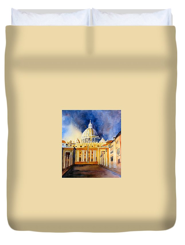 Vatican Duvet Cover featuring the painting St. Peters Basilica by Karen Stark