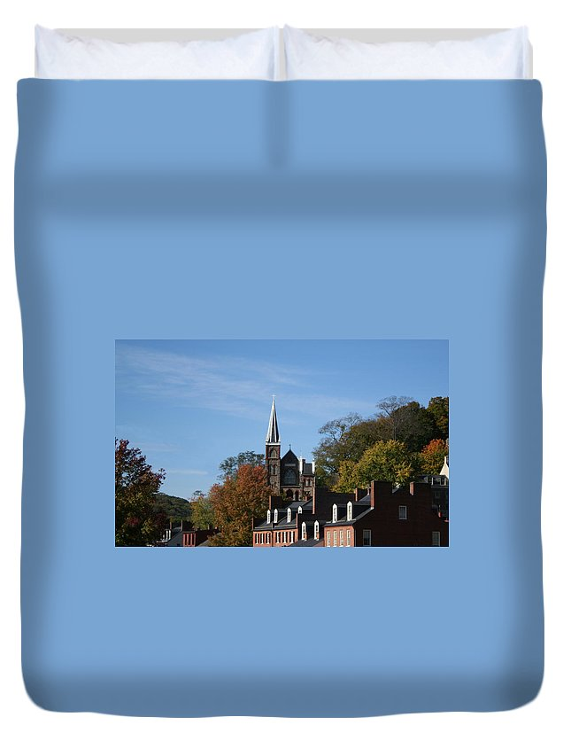 Catholic Duvet Cover featuring the photograph St. Peters Roman Catholic Church At A Distance by Rebecca Smith