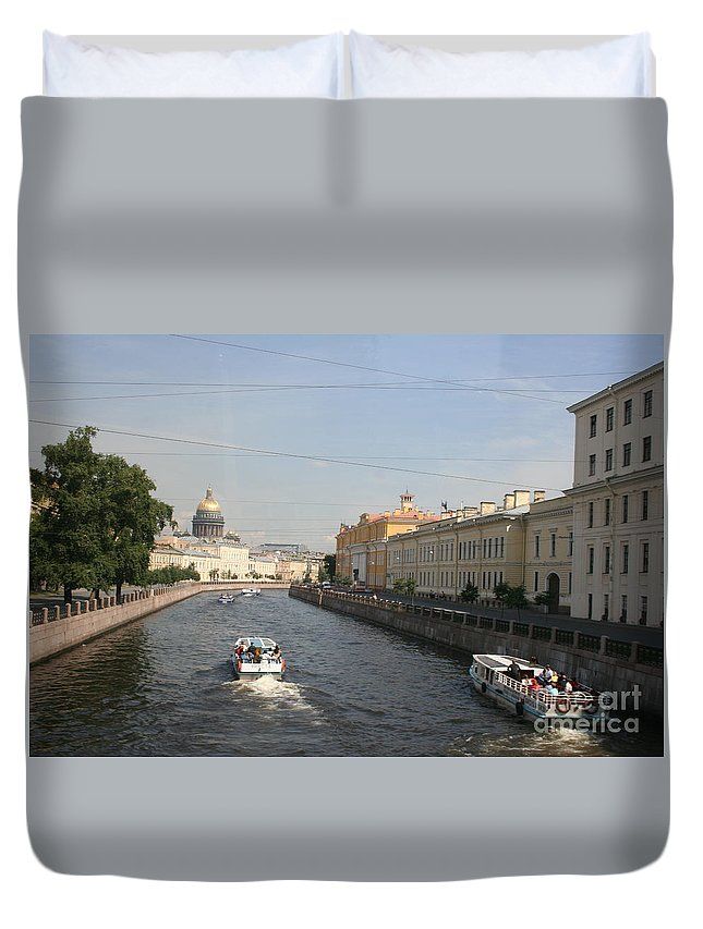 Canal Duvet Cover featuring the photograph St. Petersburg Canal - Russia by Christiane Schulze Art And Photography
