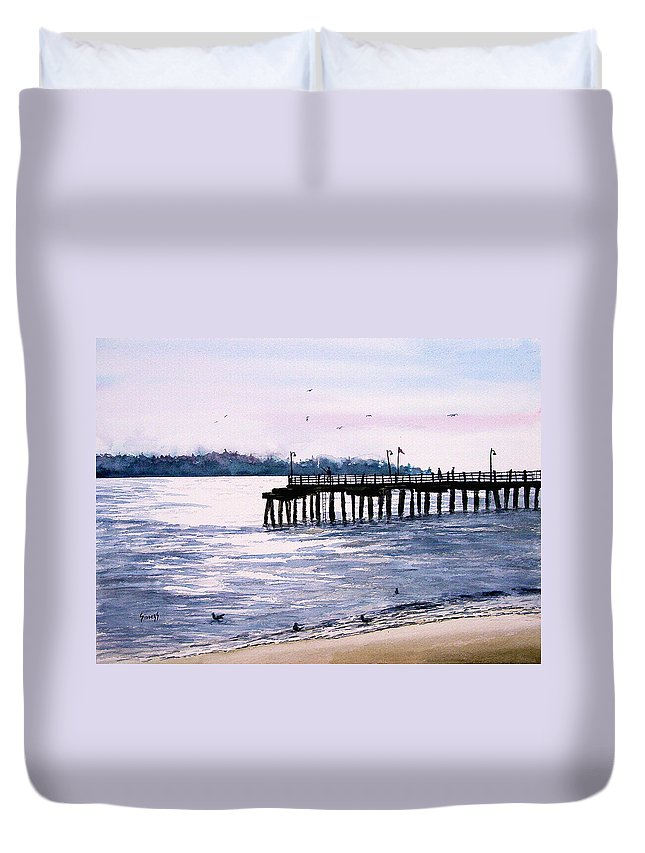 Fishing Duvet Cover featuring the painting St. Simons Island Fishing Pier by Sam Sidders