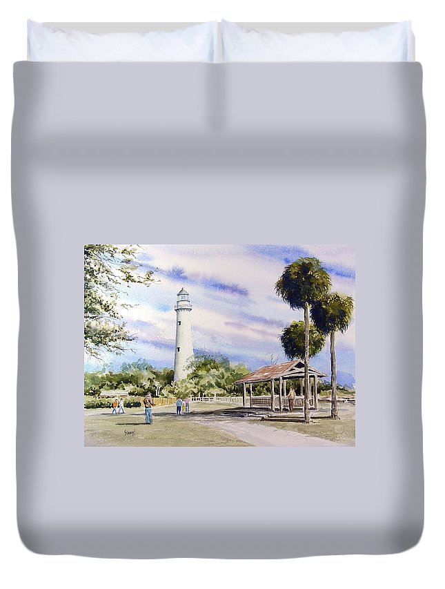 Lighthouse Duvet Cover featuring the painting St. Simons Island Lighthouse by Sam Sidders
