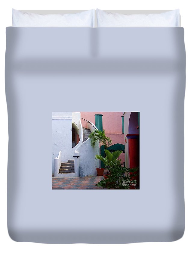 Architecture Duvet Cover featuring the photograph St. Thomas Courtyard by Debbi Granruth