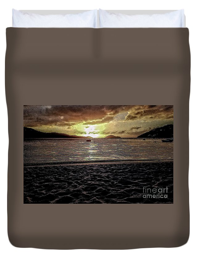 St Thomas Duvet Cover featuring the photograph St Thomas - Dusk At Magans Bay by Stefan H Unger