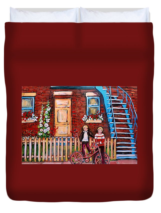 Montreal Neighborhoods Duvet Cover featuring the painting St. Urbain Street Boys by Carole Spandau
