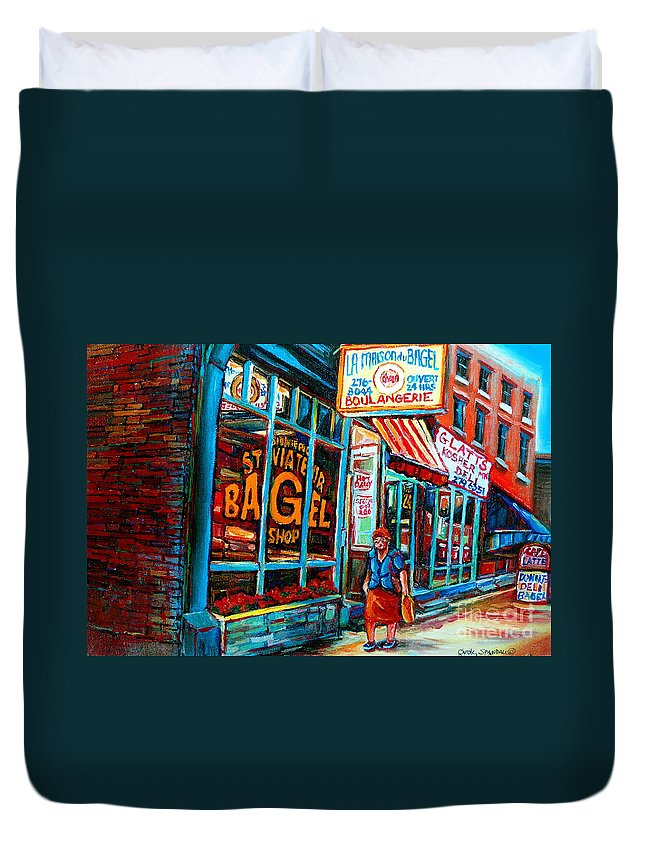 St Duvet Cover featuring the painting St. Viateur Bagel Bakery by Carole Spandau