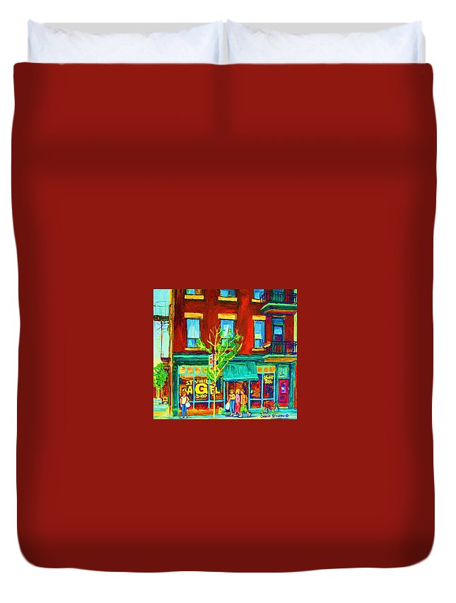 St. Viateur Bagel Shop Duvet Cover featuring the painting St Viateur Bagel Shop by Carole Spandau