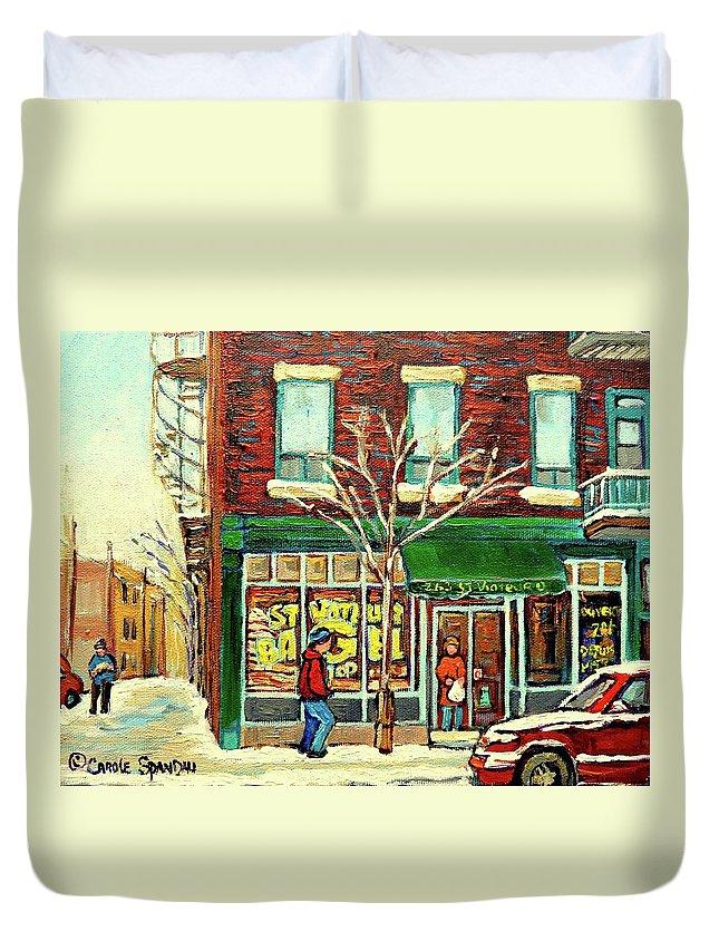 Montreal Duvet Cover featuring the painting St Viateur Bagel Shop Montreal by Carole Spandau