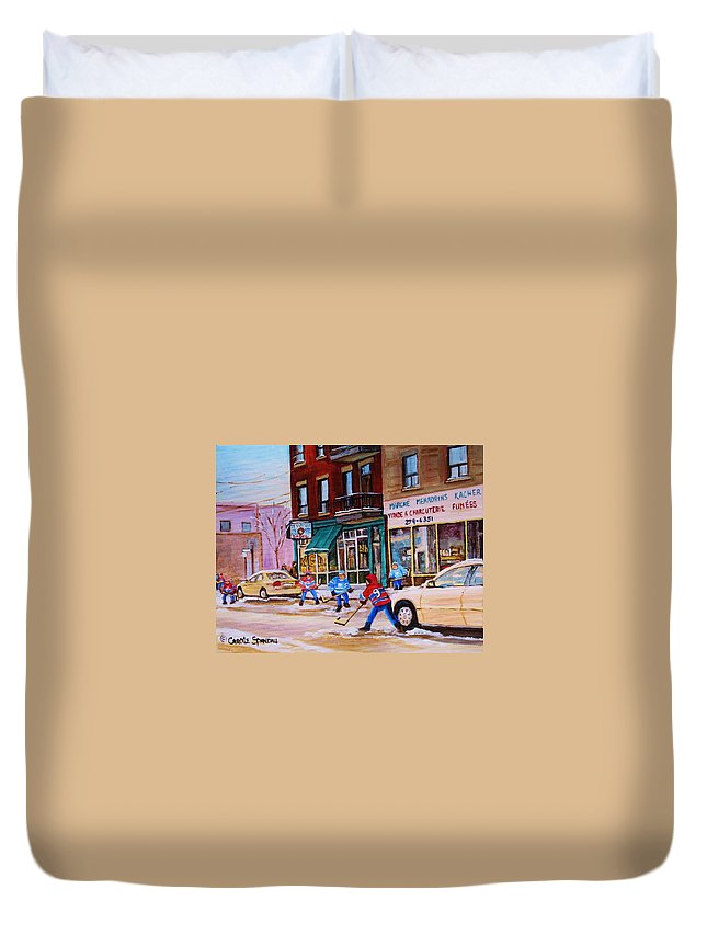 Montreal Duvet Cover featuring the painting St. Viateur Bagel with boys playing hockey by Carole Spandau