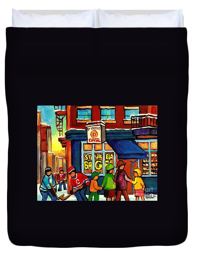 Monteeal Duvet Cover featuring the painting St. Viateur Bagel With Hockey by Carole Spandau