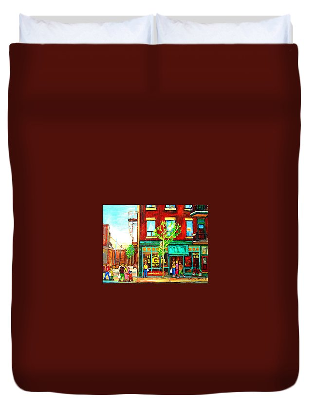 Cityscapes Duvet Cover featuring the painting St. Viateur Bagel With Shoppers by Carole Spandau