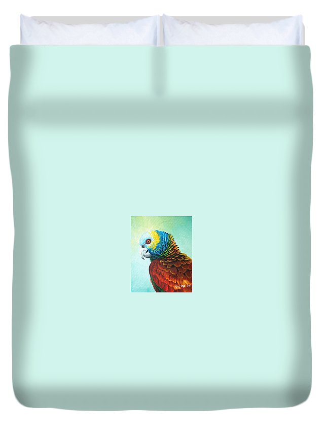 Chris Cox Duvet Cover featuring the painting St. Vincent Parrot by Christopher Cox