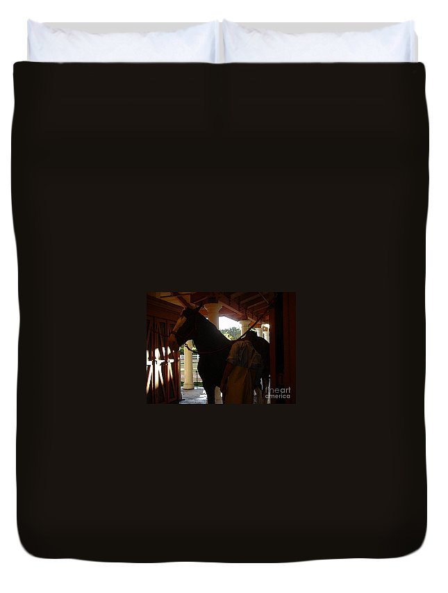 Horses Duvet Cover featuring the photograph Stable Groom - 2 by Linda Shafer