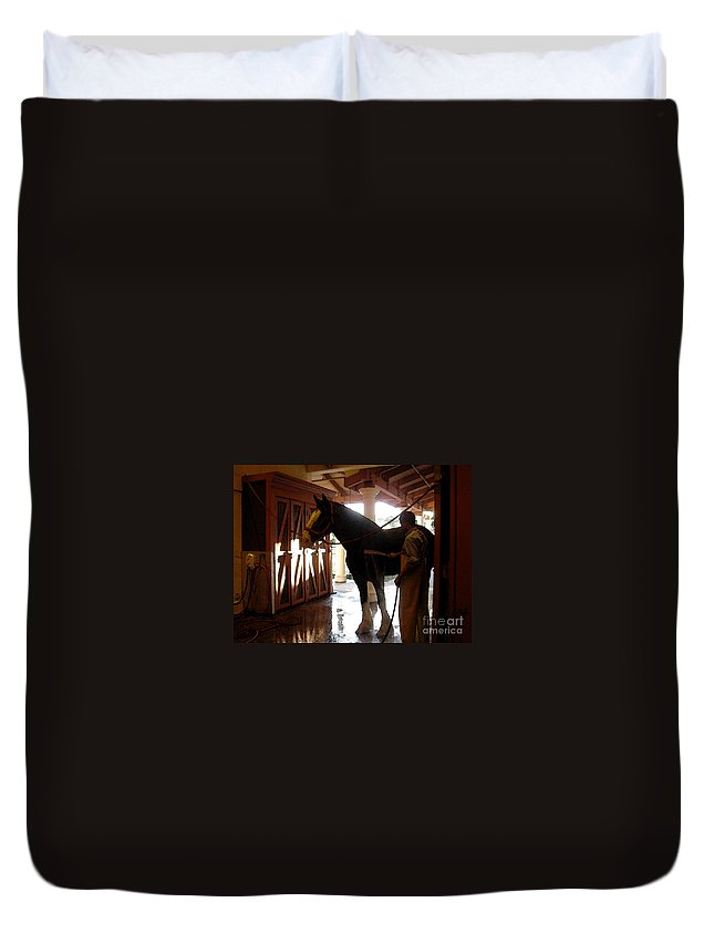 Horse Duvet Cover featuring the photograph Stable Groom - 1 by Linda Shafer
