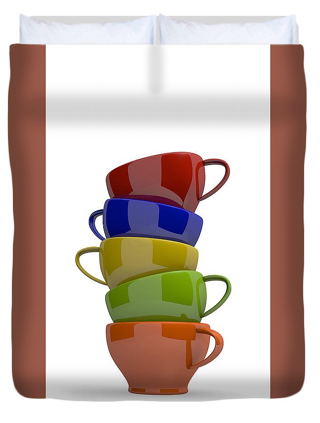 Coffee Duvet Cover featuring the digital art Stacked Cups by Andreas Berheide