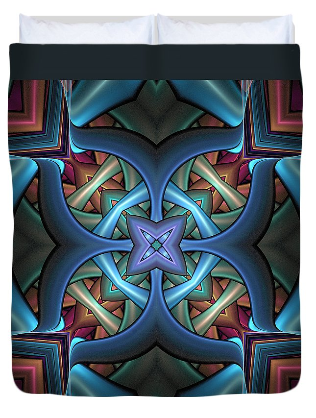 Digital Art Duvet Cover featuring the digital art Stacked Kaleidoscope by Amanda Moore