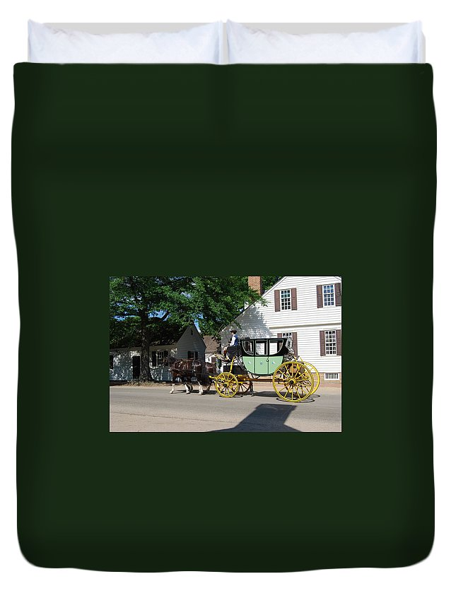 Stage Coach Duvet Cover featuring the photograph Stage Coach by Eric Liller