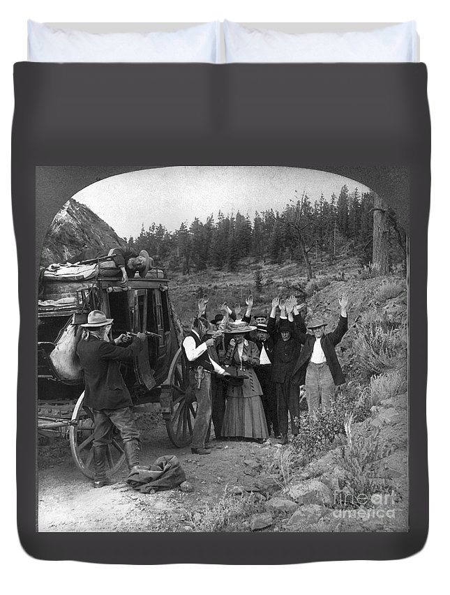 1911 Duvet Cover featuring the photograph Stagecoach Robbery, 1911 by Granger