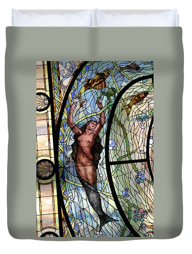 Stain Glass Duvet Cover featuring the photograph Stain Glass Set 3 - Bath House - Hot Springs, Ar by Lynn Michelle
