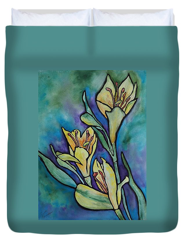 Flowers Duvet Cover featuring the painting Stained Glass Flowers by Ruth Kamenev