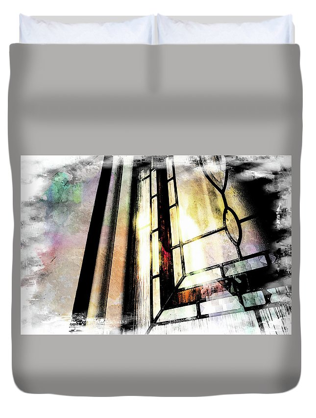 Architecture Duvet Cover featuring the photograph Stained Glass by Jim Love