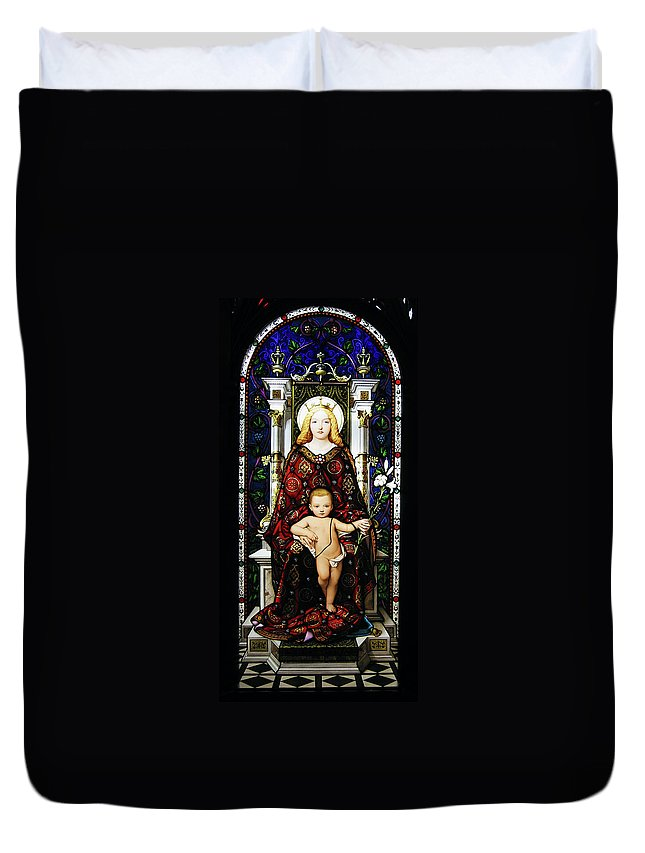 3scape Duvet Cover featuring the photograph Stained Glass Of Virgin Mary by Adam Romanowicz