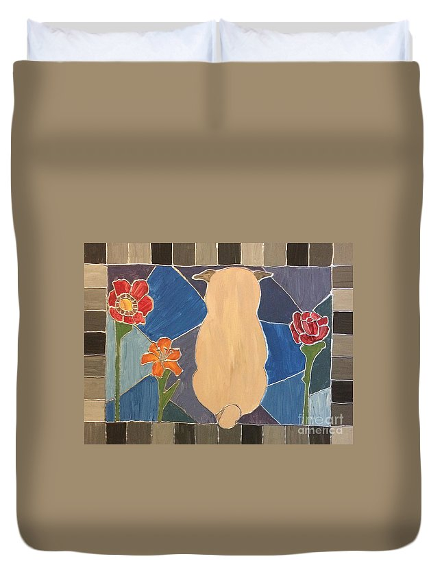 Duvet Cover featuring the painting Stained Glass Pug by Purely Pugs Design