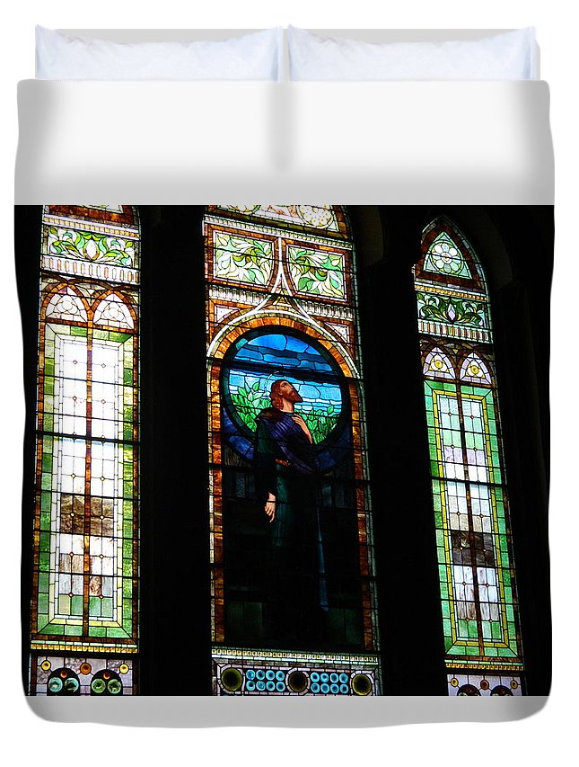 Uva Duvet Cover featuring the photograph Stained Glass Window by Arlane Crump
