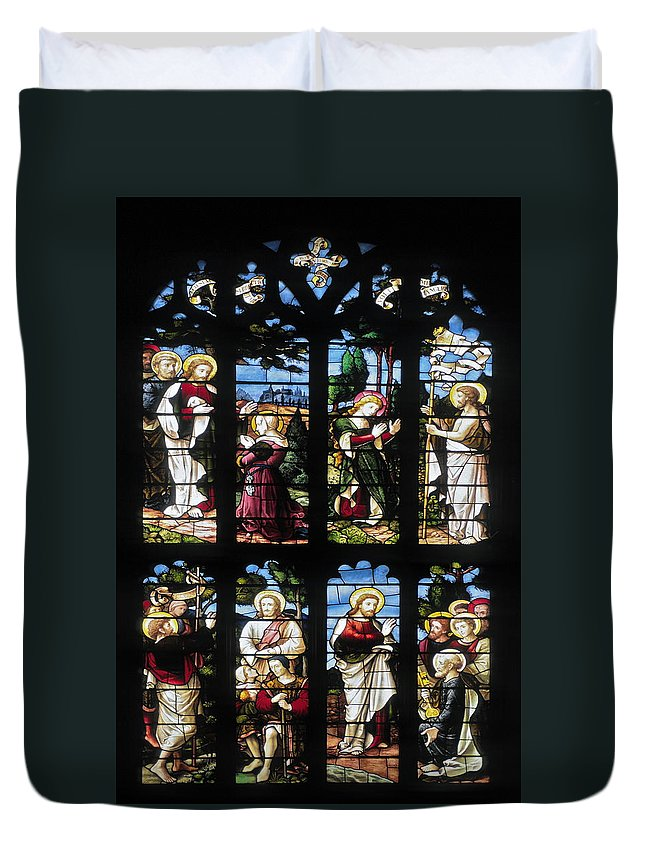 Stained Glass Church Window Duvet Cover featuring the photograph Stained Glass Window by Sally Weigand