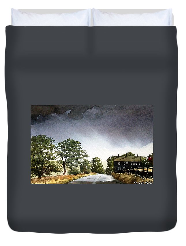 Landscape Duvet Cover featuring the painting Stainland Dean by Paul Dene Marlor