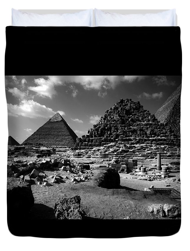 Pyramids Duvet Cover featuring the photograph Stair Stepped Pyramids by Donna Corless