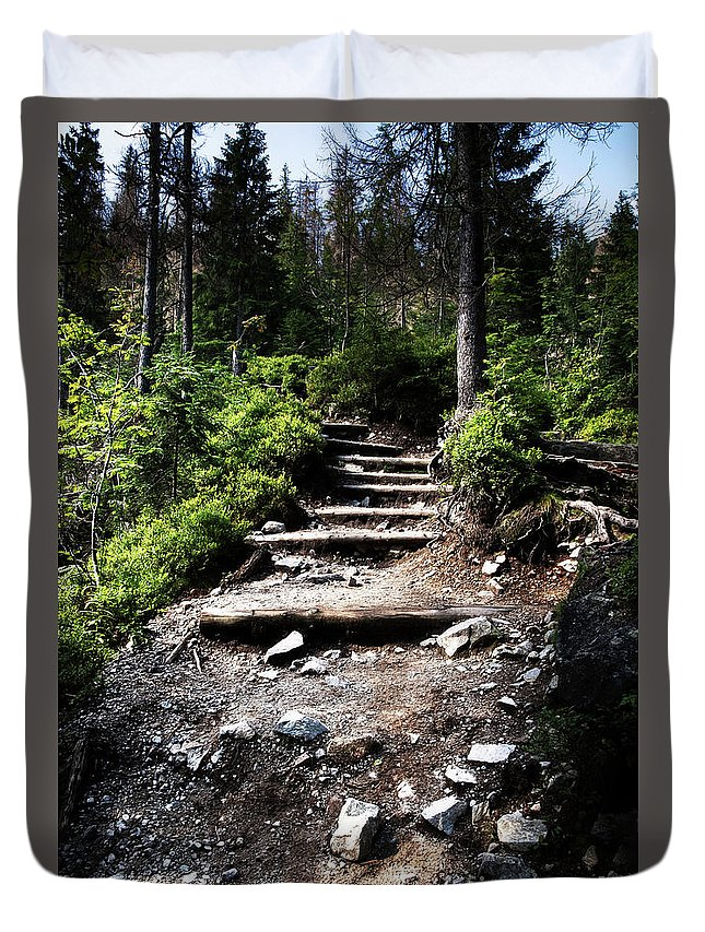 Step Duvet Cover featuring the photograph Stair Stone Walkway In The Forest by Jozef Jankola