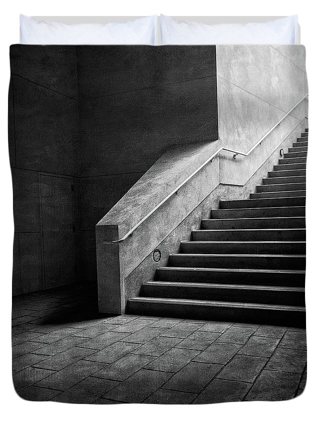 Abandoned Duvet Cover featuring the photograph Staircase Into Light Bw Parking Structure by YoPedro