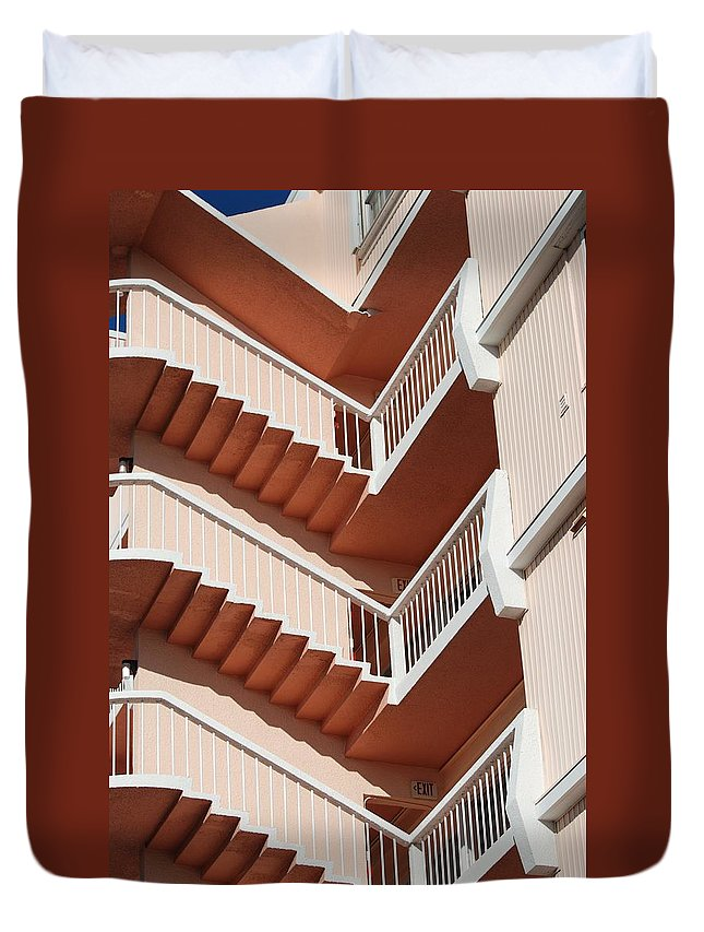 Architecture Duvet Cover featuring the photograph Stairs And Rails by Rob Hans