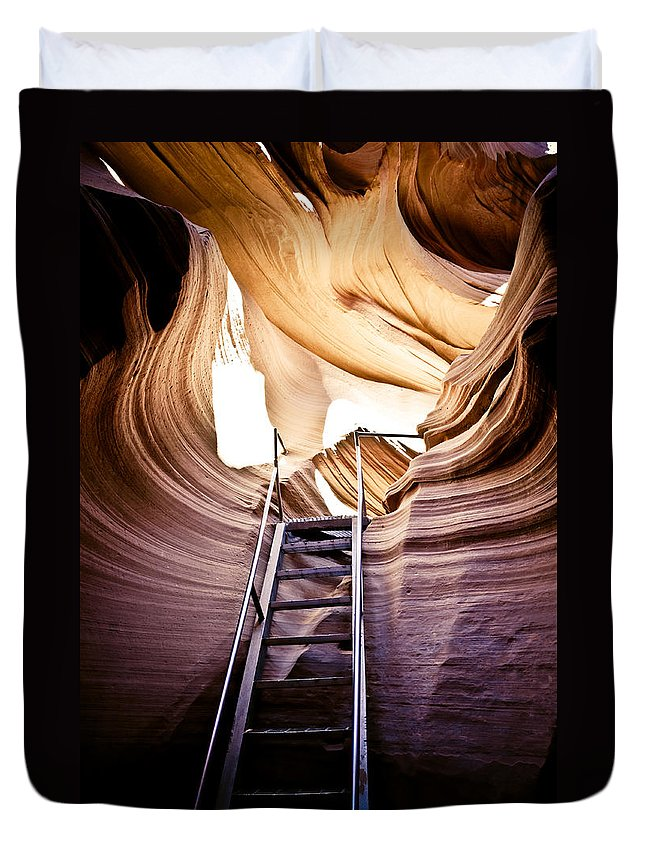 Canyon Duvet Cover featuring the photograph Stairs From Chaos by Scott Sawyer
