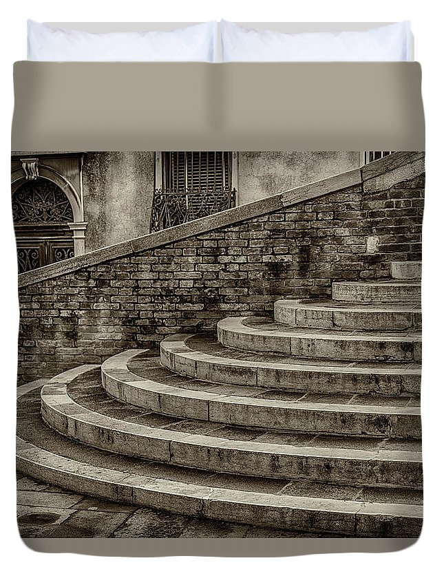 Europe Duvet Cover featuring the photograph Stairs To Canal Bridge Venice_dsc1637_03012017 by Greg Kluempers