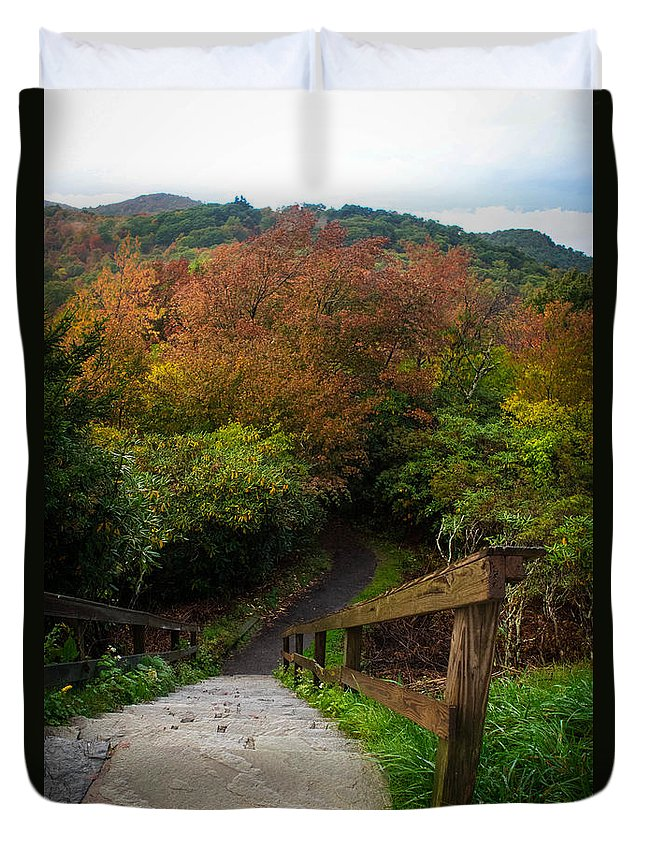 Landscape Duvet Cover featuring the photograph Stairs To The Graveyard by Brittany Jordan