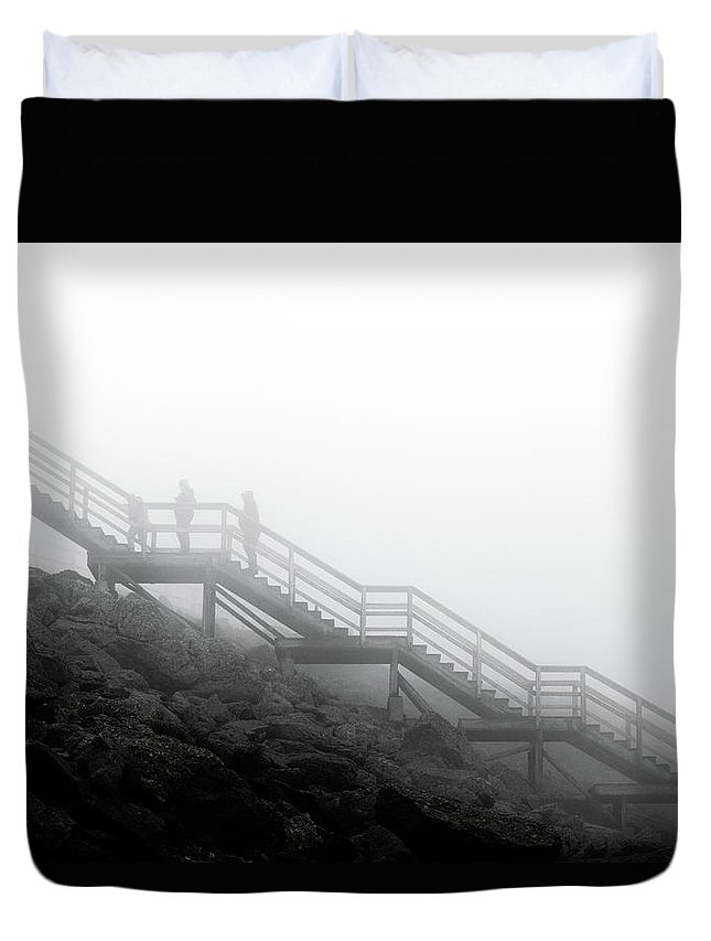Stairs Heavens Black White Mono Duvet Cover featuring the photograph Stairs To The Heavens by Luke Sedor